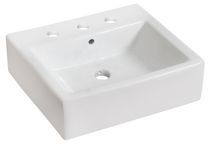 American Imaginations 20 inch width x 18 inch depth Above Counter Rectangle Vessel In White Color For 8-in. o.c. Faucet