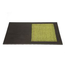 FHE Square Patch Door Mat Brown w/ Green Patch