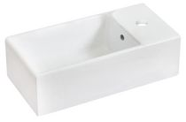 American Imaginations 18 inch width x 10 inch depth Above Counter Rectangle Vessel In White Color For Single Hole Faucet