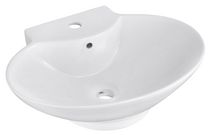 American Imaginations 21 inch width x 15 inch depth Above Counter Oval Vessel In White Color For Single Hole Faucet
