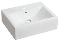 American Imaginations 20.5 inch width x 16 inch depth Above Counter Rectangle Vessel In White Color For Single Hole Faucet