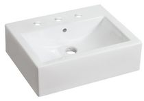 American Imaginations 20.5 inch width x 16 inch depth Above Counter Rectangle Vessel In White Color For 8-in. o.c. Faucet