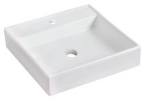 American Imaginations 17.5 inch width x 17.5 inch depth Above Counter Square Vessel In White Color For Single Hole Faucet