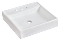 American Imaginations 17.5 inch width x 17.5 inch depth Above Counter Square Vessel In White Color For 4-in. o.c. Faucet