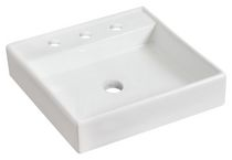 American Imaginations 17.5 inch width x 17.5 inch depth Above Counter Square Vessel In White Color For 8-in. o.c. Faucet