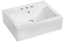 American Imaginations 20.5 inch width x 16 inch depth Wall Mount Rectangle Vessel In White Color For 4-in. o.c. Faucet