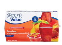 Great Value Peaches in Strawberry Flavoured Gel Cups