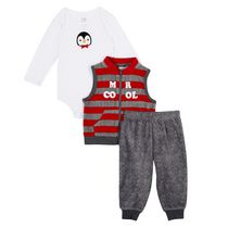 George baby Boys' 3-Piece Micro Polar Vest Set 12-18 months