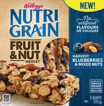Kellogg's Nutri-Grain Fruit & Nut Medley Harvest Blueberries & Mixed Nuts Bars
