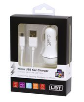 LBT CLAUSBMIC - 3.4 AMP Dual Port Car Charger with a Detach Micro USB Cable