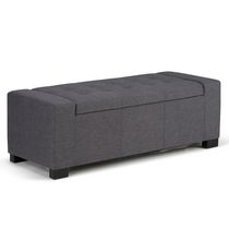 WyndenHall Santa Fe Large Rectangular Storage Ottoman Bench Grey