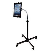 CTA Digital Height-Adjustable Gooseneck Stand with Casters for iPad & Other 9.7-10.1 Inches Tablets