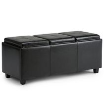 Franklin 48 inch wide Black Faux Leather Rectangular Storage Ottoman