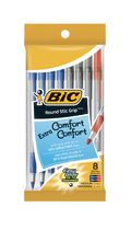 BIC® Roundstic Grip Assorted 8 Pack