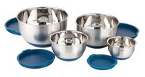 Paderno 4-Piece Mixing Bowl Set with Silicone Base and Lid Blue