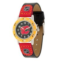 Youth NHL Calgary Flames Black Ribbed Strap Analog Watch