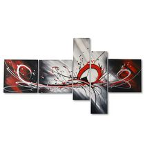 Design Art - Red Splash- Hand Painted Textured Oil Painting on Canvas- 5 Piece Set- 66 x36 In