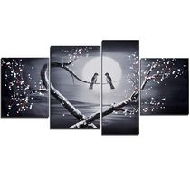 Design Art -Love Birds- Hand Painted Textured Oil Painting - 4 Pieces- 66 x 32 In