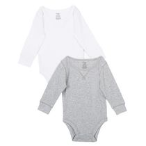 George baby Boys' Jersey Bodysuit, 2-Pack Grey 12-18 months