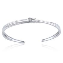 0.04 Ct Round Brilliant Diamond Knot Cuff Bracelet in Sterling Silver
