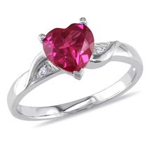 Tangelo 1.63 Carat T.G.W. Created Ruby and Diamond Accent Sterling Silver Heart Ring 6