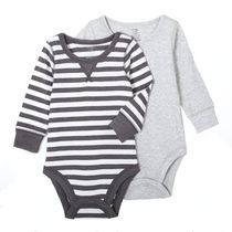 George Baby Boys' Body Suit, 2-Pack Gray 0-3 months