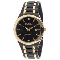 Elgin Mens Black Metal Watch