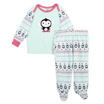 George baby Girls' Micro Polar 2-Piece Pyjama Set Green 18-24 months