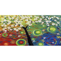 Design Art- Psychedelic Flower Tree - Print on Canvas