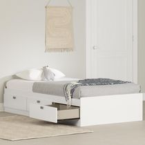 South Shore Spark Collection Twin Mates Bed White