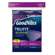 GoodNites Tru-Fit Real Underwear with Nighttime Protection Starter Pack for Girls, L/XL