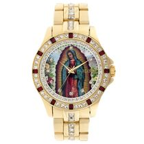 Elgin Men's Lady of Guadalupe Graphic Dial Crystal Accented Gold Tone watch