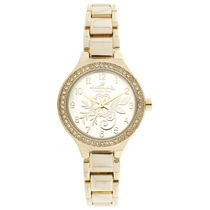 Hallmark Ladies Gold Flower Design Analog Watch