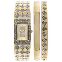Elgin Ladies Goldtone Genuine Crystal Bangle Watch and Matching Bangle Set