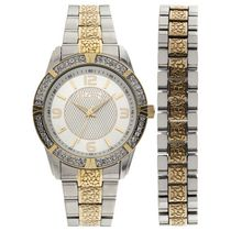 Elgin Men's Two-Tone Silver Dial Watch and Bracelet Set