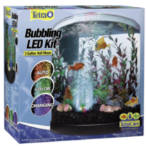 3 Gallon Half Moon Bubbling LED Aquarium Kit