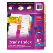 Avery® Ready Index® Table of Contents Dividers 11131, 5-Tab Set