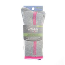 Danskin Now Women's' Crew Socks, Pack of 3 White and Grey