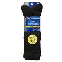 Dr. Scholl's Men's Diabetic Crew Socks - 2 Pairs Black
