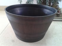 hometrends 16 inch Indoor/Outdoor Plastic Whiskey Barrel Planter