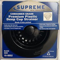 Supreme Metal Products Black Consumer Grade Premium Plastic Deep Cup Strainer