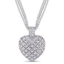 Miabella 1 Carat T.W. Diamond Heart Pendant with 3-Strand Chain in Sterling Silver