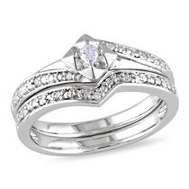 Miabella 0.10 Carat T.W. Diamond Sterling Silver Bridal Set 8.5