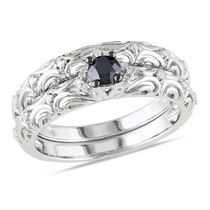 0.33 Carat T.W. Black and White Diamond Sterling Silver Bridal Set 6