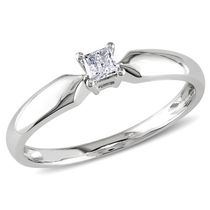 Miabella 0.10 Carat T.W. Princess-Cut Diamond 10 K White Gold Solitaire Promise Ring 6