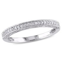 Miabella 0.10 Carat T.W. Diamond 10 K White Gold Wedding Band 5