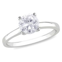 Miabella 1.25 Carat T.G.W. Created White Sapphire 10 K White Gold Solitaire Engagement Ring 7.5