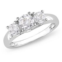 Miabella 1.33 Carat T.G.W. Created White Sapphire 10 K White Gold Three-Stone Engagement Ring 7