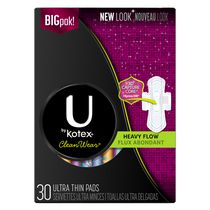 U by Kotex CleanWear Ultra Thin Pads with Wings, Heavy Flow, Unscented