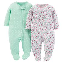 Child of Mine made by Carter's 2-Pack Zip-Up Sleep N Play Pajamas for Girls Newborn